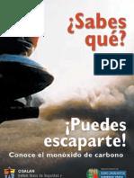 folleto para prevenir riesgos con el monóxido de carbono