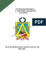 PLAN 12667 Plan Estratégico Institucional - PEI 2010 -2012 - Municipalidad Distrital Crl. Gregorio Albarracín Lanchipa 2011 (2)