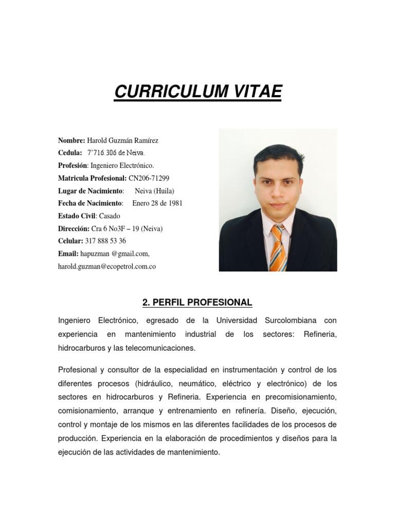 Lujoso Plantilla De Curriculum Vitae Supervisor De Mantenimiento ...