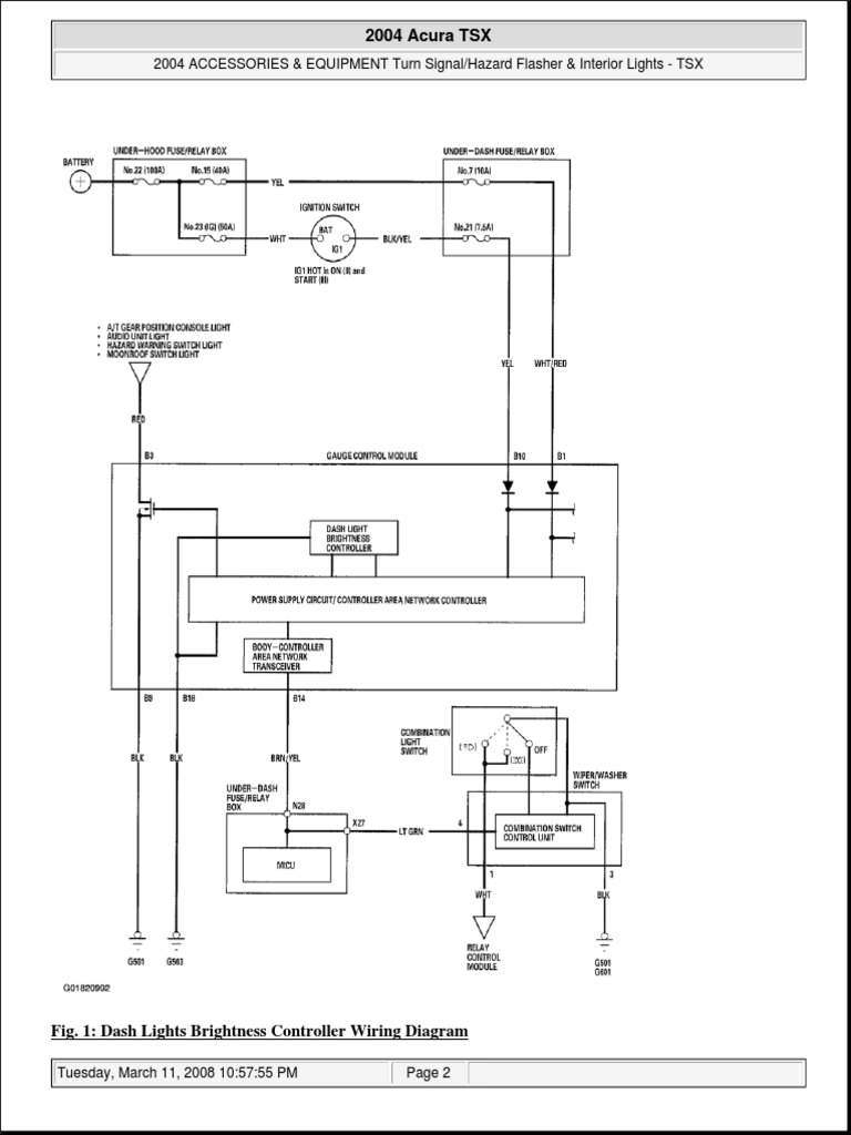 2004 Acura TSX Interior Lights Wiring Diagram | Electrical Connector | Relay | Acura Tsx Headlight Wiring Diagram |  | Scribd