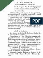 Ley del 10-01-1861 estableciendo la nueva capital de Chota