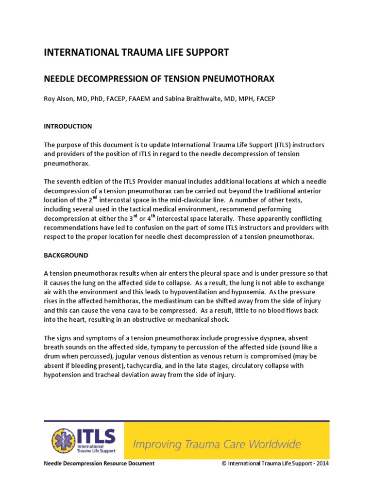 Needle Decompression Resource Document FINAL | Thorax | Emergency Medical  Services