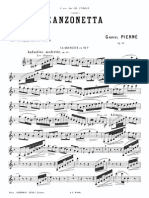 Pierné Canzonetta Op 19 Clarinet and Piano
