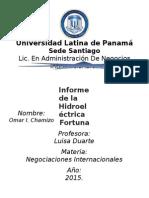 Informe de la Hidroelectrica La Fortuna.docx