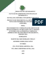 PROCEDIMIENTOS Y NORMATIVAS DEL SERVICIO DE RENTAS INTERNAS Y SU RELACIÓN CON LA GESTIÓN ECONÓMICA DE LAS PEQUEÑAS Y MEDIANAS EMPRESAS DEL SECTOR URBANO DE BABAHOYO
