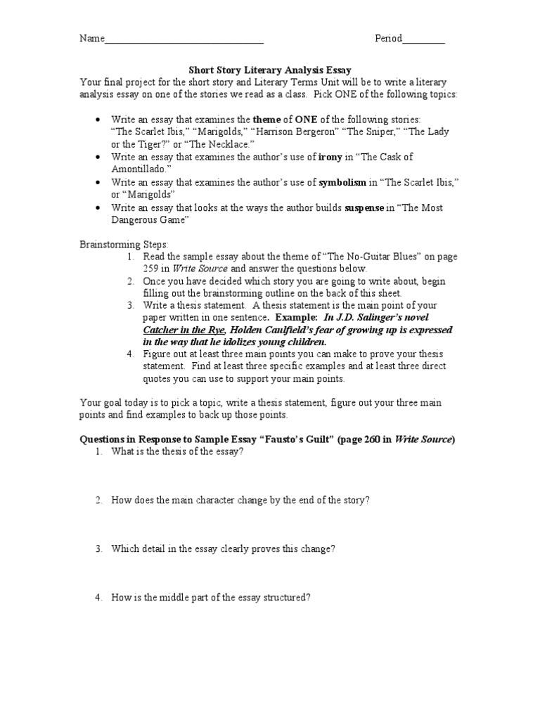 Short Story Literary Analysis Essay  PDF  Essays  Thesis