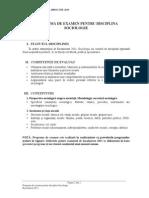 PROGRAMA DE EXAMEN PENTRU DISCIPLINA SOCIOLOGIE