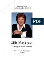 Cilla Black funeral - order of service