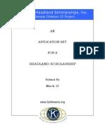 Headland Scholarship Application