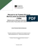 PROJECTO DE TORRES EÓLICAS RETICULADAS DE GRANDE ALTURA (150M)