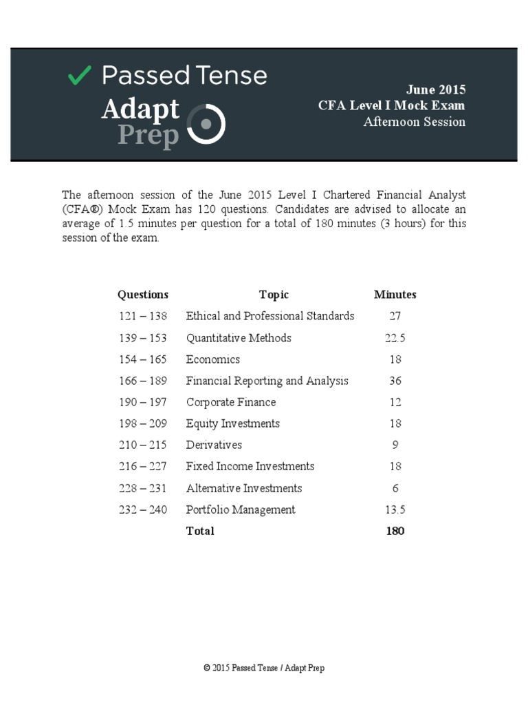 2015 Level I Mock Exam Afternoon Questions Bond Duration