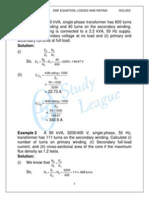 Solved Probs | Electrodynamics | Transformer