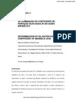 Determinação Do Coeficiente de Partição Óleo-água (P) Do Ácido Mandélico