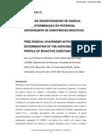 Atividade Sequestradora de Radical Livre Determinação Do Potencial Antioxidante de Substâncias Bioativas