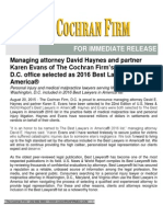 Managing attorney David Haynes and partner Karen Evans of The Cochran Firm's Washington, D.C. office selected as 2016 Best Lawyers in America®