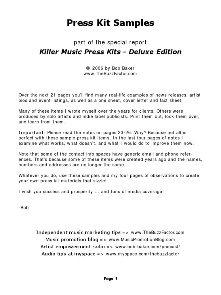 Killer Press Kit Samples | Record Label | Leisure