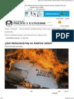¿Qué Democracia Hay en América Latina