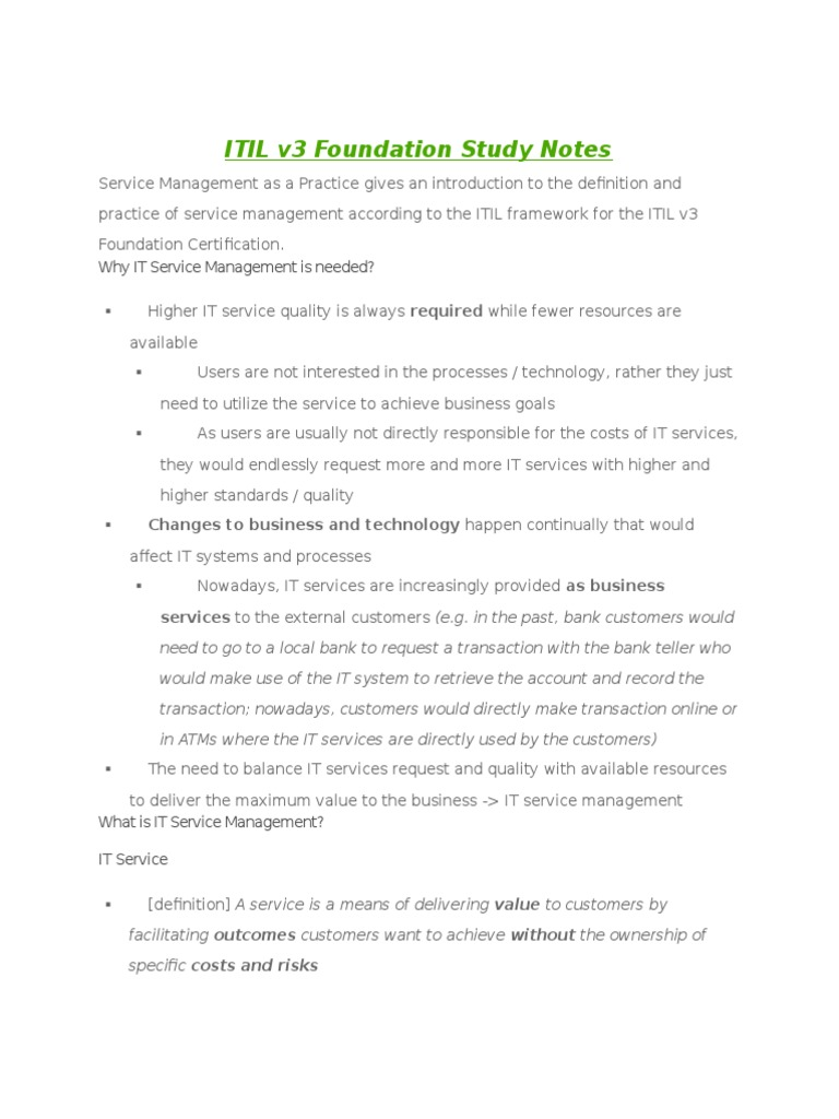 Itil V3 Foundation Study Notes Itil It Service Management