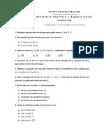 Exercicio geometria analitica