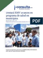 19-08-2015 E-consulta.com - Destaca RMV Avances en Programa de Salud en Municipios