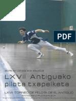 La recuperación del Beti-Jai de  Madrid como metáfora. (Fernando Larumbe - REVISTA del Torneo de Pelota de el Antiguo. Julio de 2015)