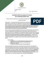 Press Release-- Council Comprehensive Budget Plan