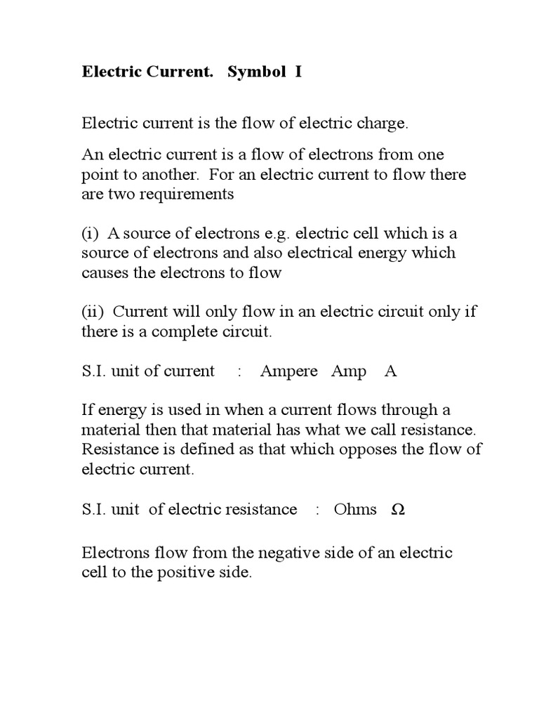 Electric Current Note Series And Parallel Circuits Electric Current