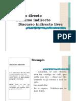 Discurso Directo. Discurso Indirecto Discurso Indirecto Livre