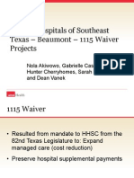 baptist hospitals of se texas  1115 waiver projects  2