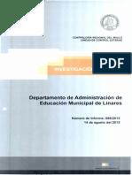 Informe de Investigacion Especial 689-15 Departamento de Educacion de La Municipalidad de Linares Irregularidad en Pago de Vacaciones e Indemnizacion Por Años de Servicio - Agosto 2015