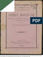 Gimon Sterling, Emilio. Mi Ofrenda en El Centenario de Simon Bolivar Libertador y