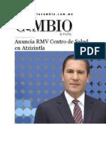 20-08-2015 Diario Matutino Cambio de Puebla - Anuncia RMV Centro de Salud en Atzizintla