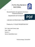 Practica No. 10 Electrodeposición