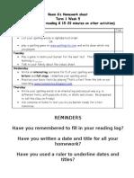 Room 6's Homework Sheet Term 1 Week