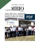 21-08-2015 Diario Matutino Cambio de Puebla - Antes Del 2016, Atzitzintla Tendrá Centro de Salud, RMV
