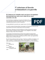 Denuncian 37 Violaciones Al Derecho Internacional Humanitario a La Guerrilla Ante La ONU