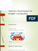 Memory Techniques for English Vocabulary