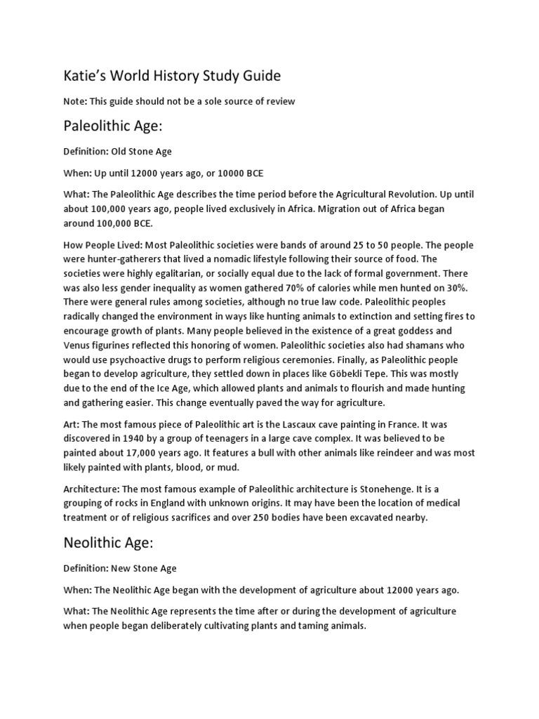 Unit One Study Guide | Mesopotamia | Paleolithic