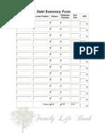 LB Debt Summary Form - Fillable