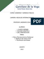 CEPLAN,  MARCO MACROECONÓMICO MULTIANUAL Y LOS OBJETIVOS DEL MILENIO