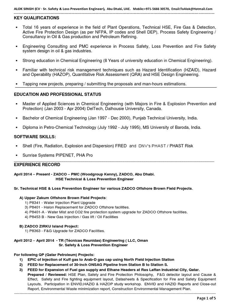 CV-Alok-Sr  Safety & Loss Prevention Engg (June-2015) | Risk