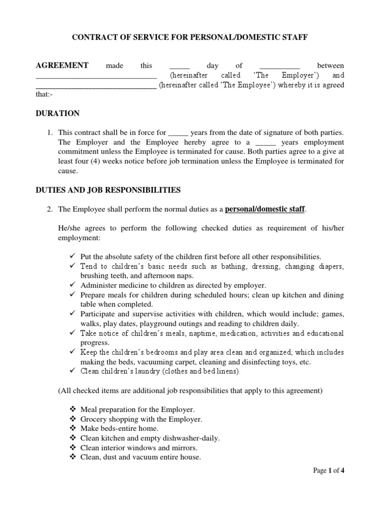 Template Sample Contract Of Service For Personal And Domestic