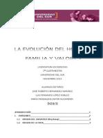 Evolución del hombre, familia y valores. Enfoque a Introducción al Estudio del Derecho.