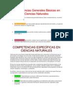 Competencias Generales Básicas en Ciencias Naturales