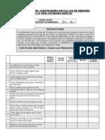Cuestionario Fallos de Memoria en La Vida Diaria MFE 30