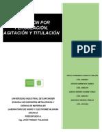 INFORME LIXIVIACIÓN POR PERCOLACIÓN, AGITACIÓN Y TITULACIÓN. UNIVERSIDAD INDUSTRIAL DE SANTANDER (UIS)