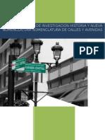 Origen de Los Nombres de Las Avenidas y Calles de La Ciudad de San José