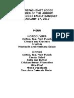 2015 Family Banquet Menu