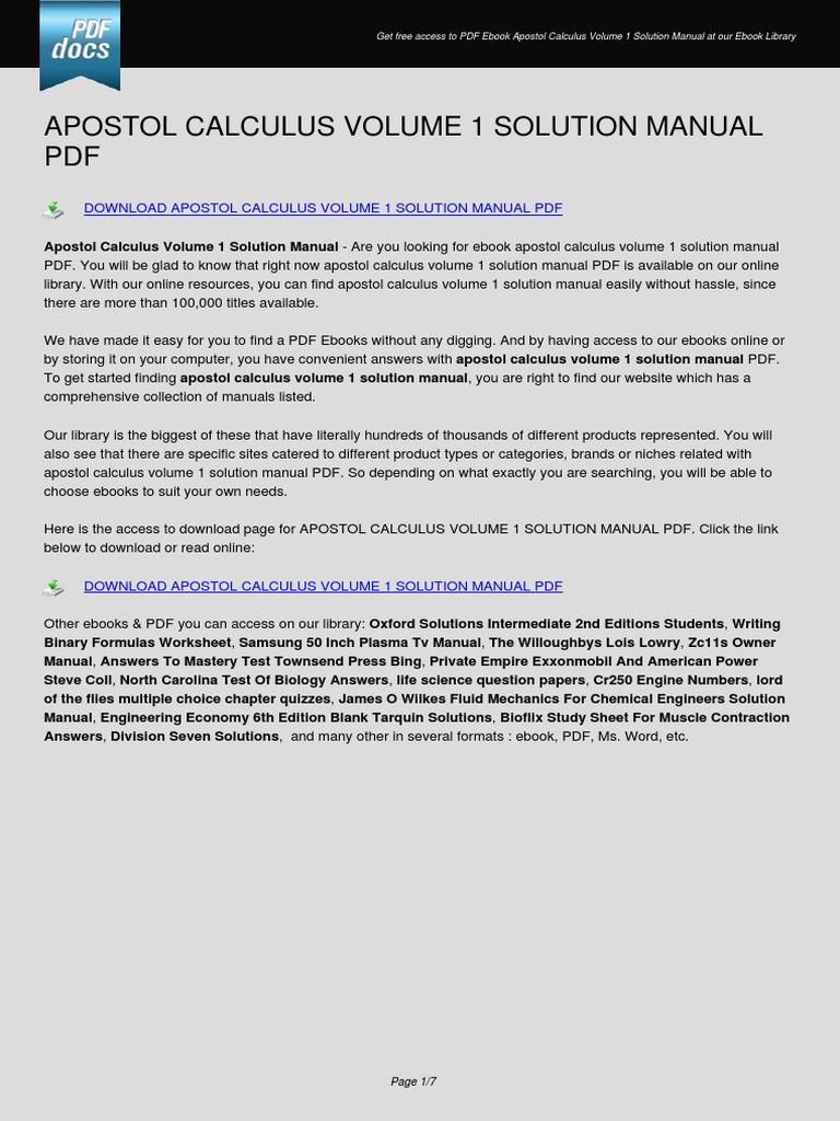 Apostol Calculus Volume 1 Solution Manual  E Books  Portable Document  Format