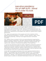 Abolition of Executive Presidency Omitted in MOU of UNP-SLFP..! Nimal Siripala Shoves It Under His Bulk